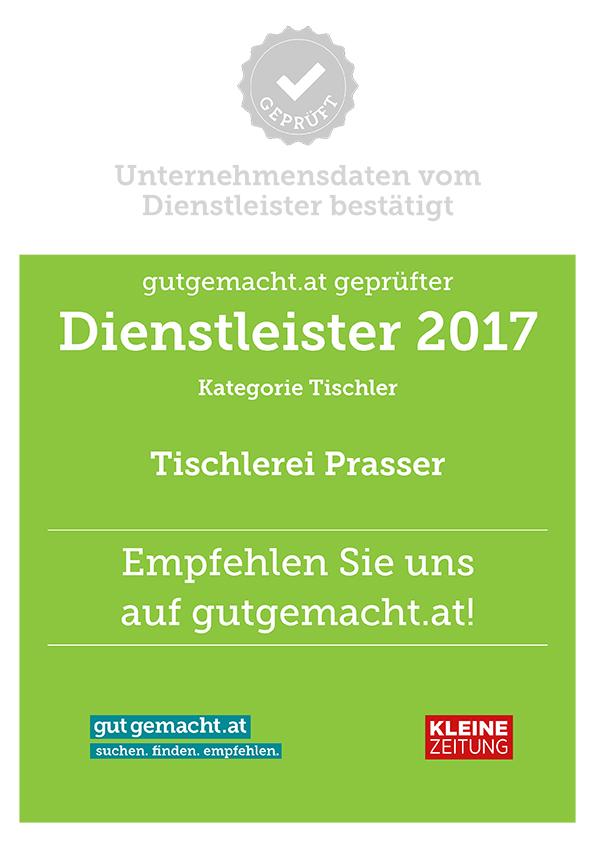 Zertifikat - Tischlerei Prasser